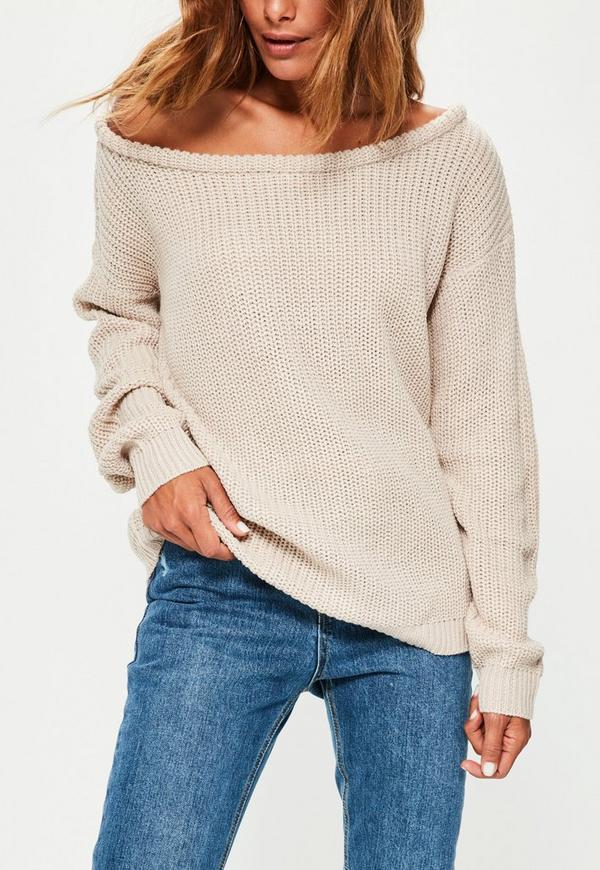 Off The Shoulder Jumper Knitting Pattern : Camel Off Shoulder Knitted Jumper Missguided