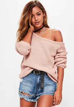 Blush Pink Off Shoulder Knitted Jumper