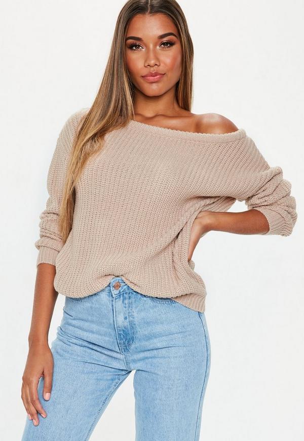 Beige Off Shoulder Knitted Jumper