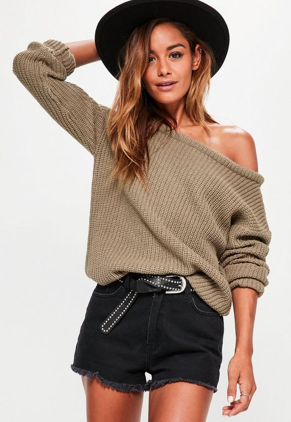 Light Brown Off Shoulder Knitted Jumper
