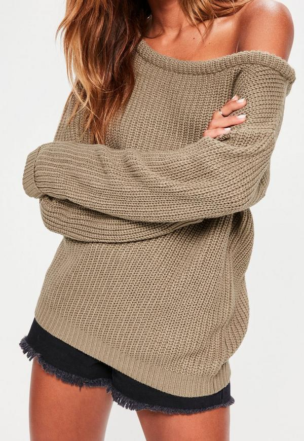 Light Brown Off Shoulder Knitted Sweater | Missguided