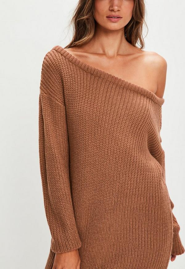 lovely brown off shoulder outfit dress