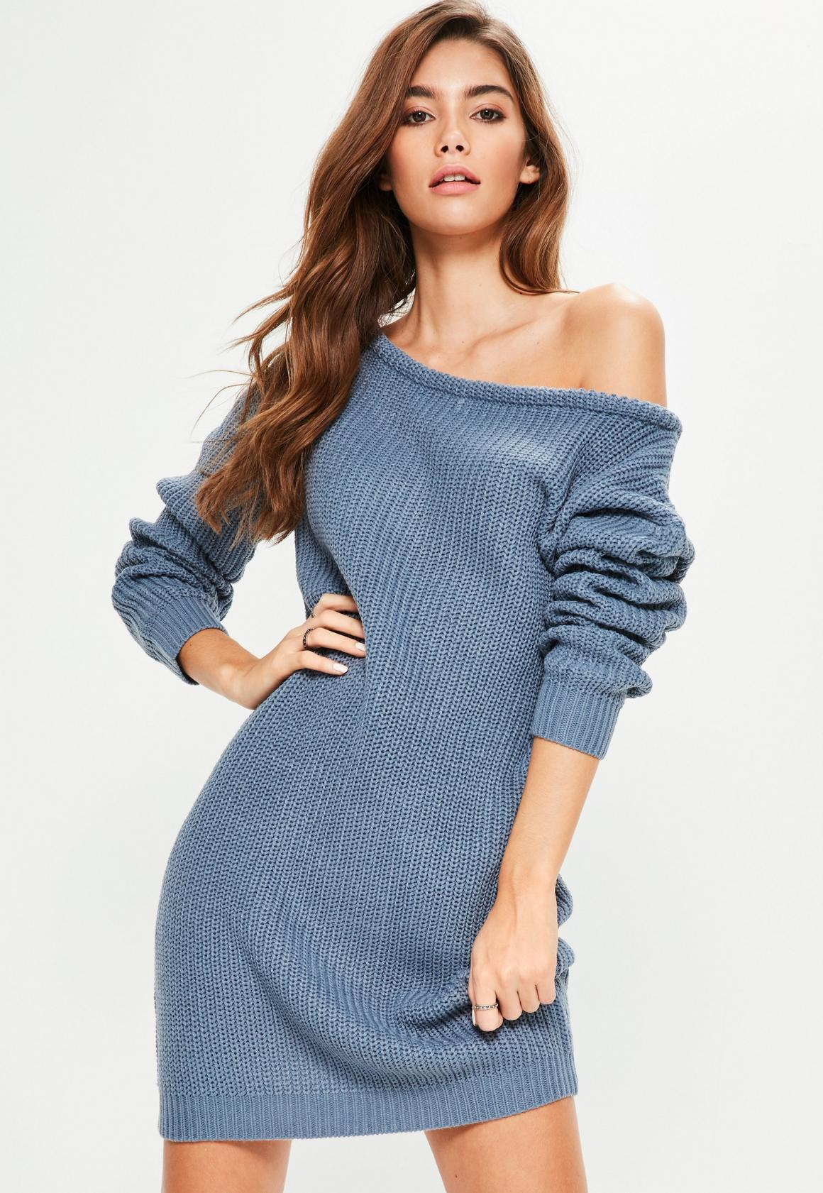 Blue Off Shoulder Knitted Sweater Dress | Missguided