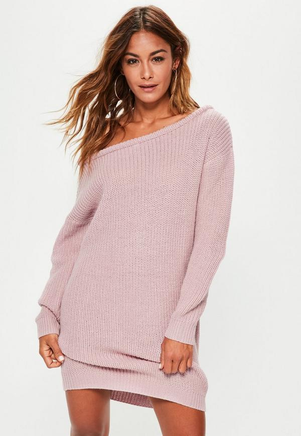 Purple Off Shoulder Knitted Jumper Dress
