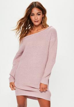 Purple Off Shoulder Knitted Sweater Dress