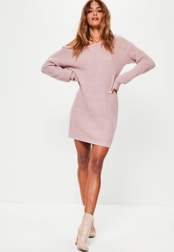 Knitting Pattern For Jumper Dress : Purple Off Shoulder Knitted Jumper Dress Missguided