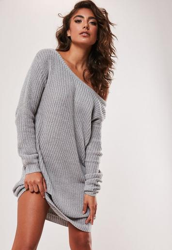 Grey Off Shoulder Knitted Sweater Dress Missguided