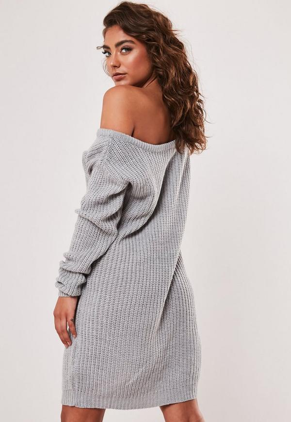 ac12bd649a10 Grey Off Shoulder Knitted Jumper Dress. Previous Next