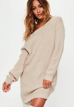Beige Off Shoulder Knitted Jumper Dress