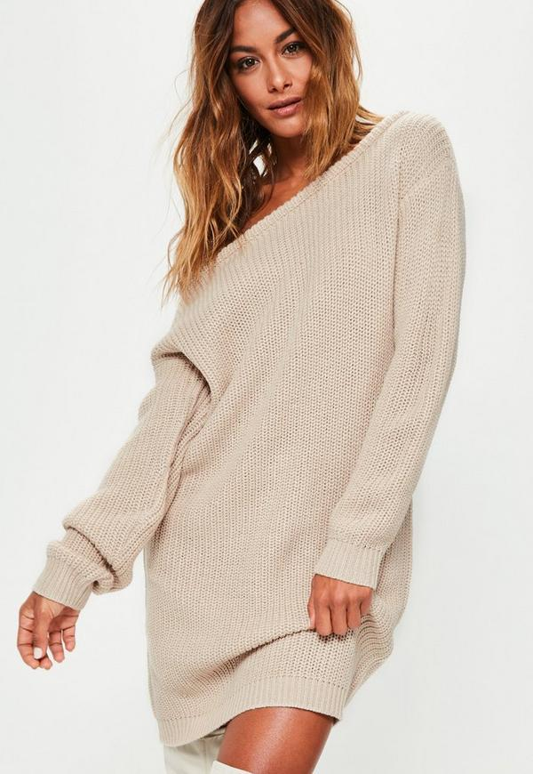 Beige Off Shoulder Knitted Jumper Dress