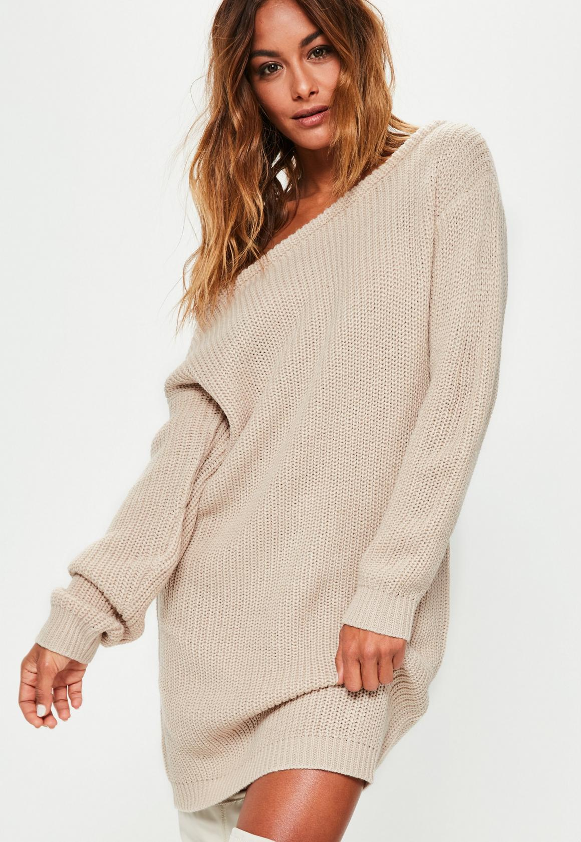 Beige Off Shoulder Knitted Sweater Dress | Missguided