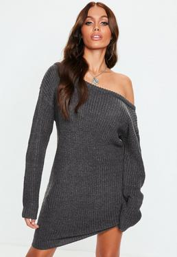 Charcoal Grey Off Shoulder Knitted Jumper Dress