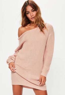 Nude Off Shoulder Knitted Jumper Dress