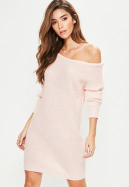 Pink Off Shoulder Knitted Jumper Dress