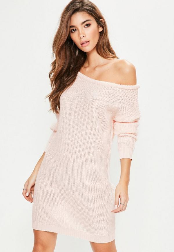 Pink Off Shoulder Knitted Jumper Dress