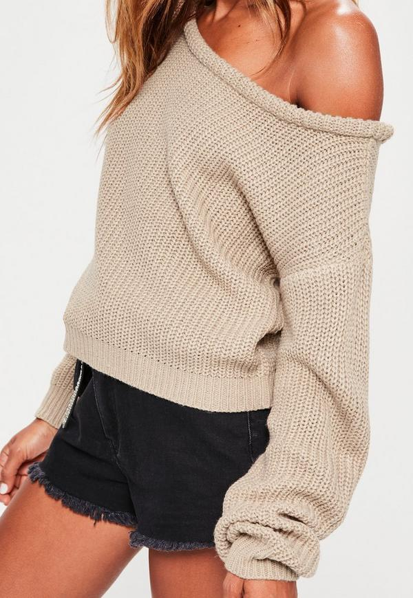 Nude Off Shoulder Cropped Sweater | Missguided