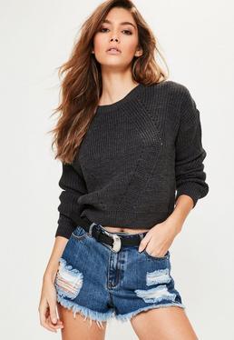 Grey Fashion Detail Crew Neck Knitted Jumper