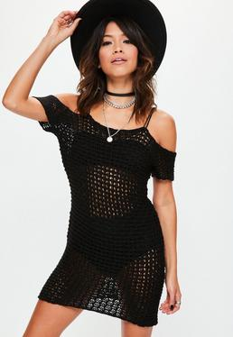 Black Crochet Supported Bardot Knitted Mini Dress