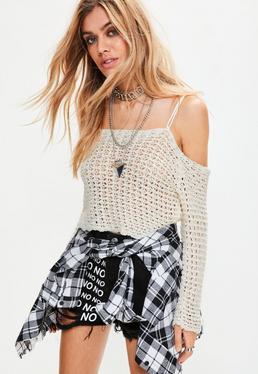 Cream Crochet Open Stitch Bardot Top
