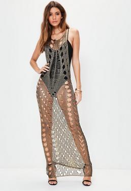 Sukienka maxi w kolorze metalicznego brązu