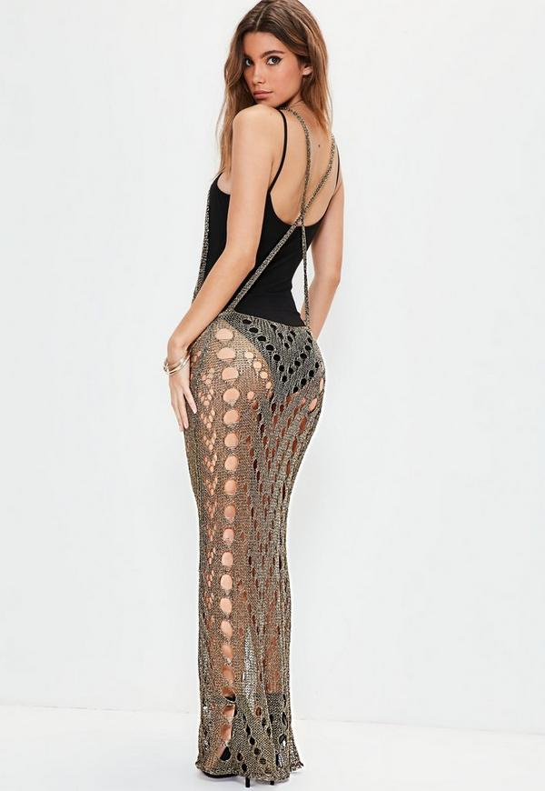 Bronze Detailed Metallic Knitted Maxi Dress | Missguided