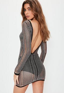 Black Mixed Metallic Plunge Back Mini Knitted Jumper Dress