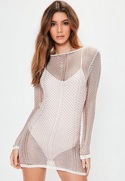 White Mixed Metallic Plunge Back Mini Knitted Sweater Dress