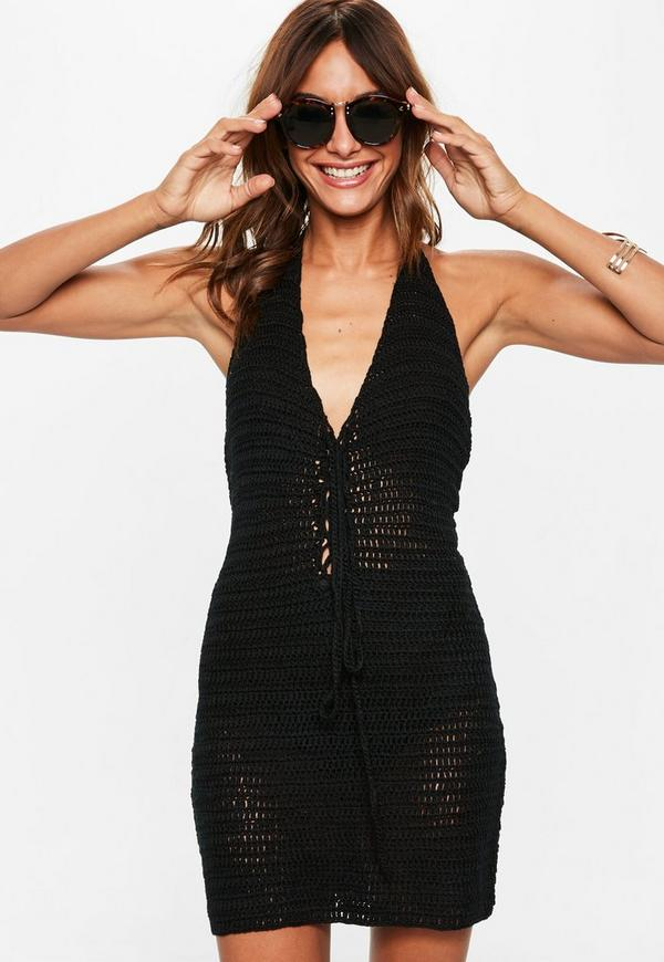 Black Crochet Halterneck Lace Up Mini Dress