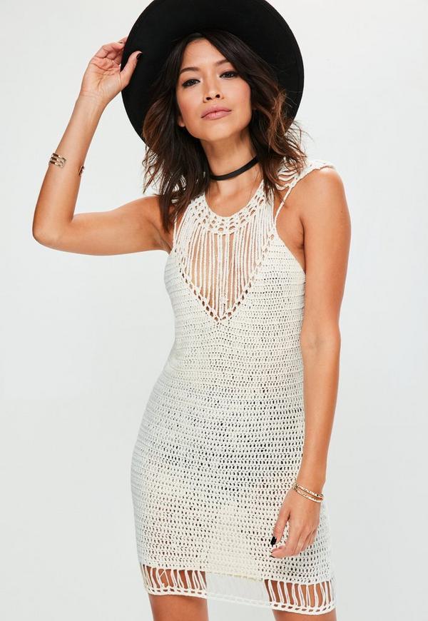 White Harp Shoulder Crochet Mini Knitted Jumper Dress