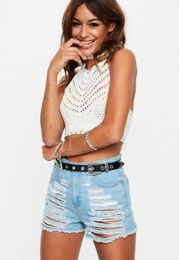 White Choker Neck Crochet Knitted Crop Top