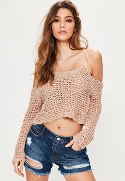 Pink Crochet Open Stitch Bardot Sweater
