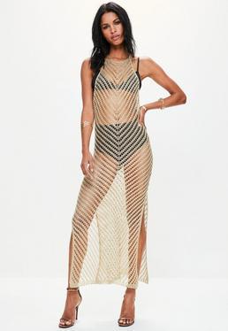 Złota metaliczna sukienka maxi z dekoltem halter