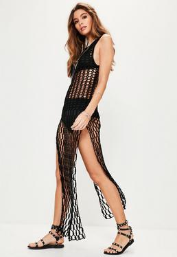 Czarna szydełkowa sukienka maxi