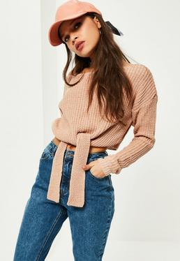 Pink Tie Front Off Shoulder Sweater