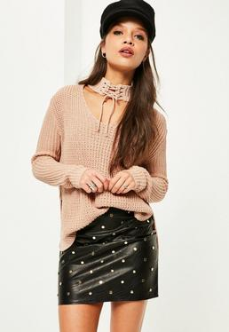 Nude Lace Up Choker Neck Jumper
