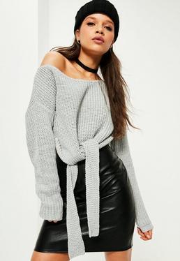 Grey Tie Front Off Shoulder Sweater