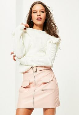 White Frill Shoulder Sweater