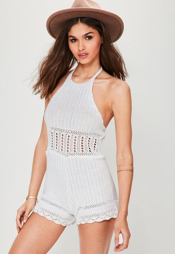 White Halter Neck Crochet Playsuit