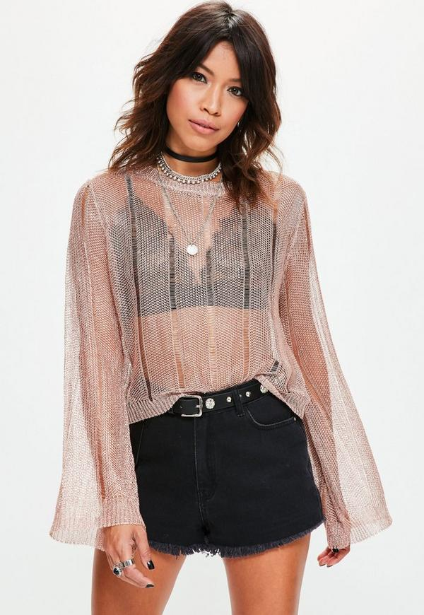 Rose Gold Distressed Flared Sleeve Metallic Knitted Jumper
