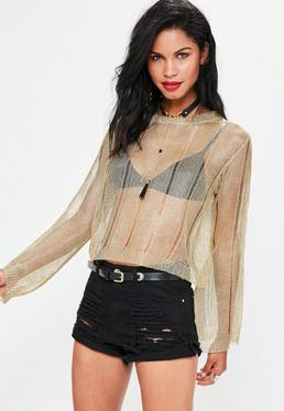 Gold Distressed Flared Sleeve Metallic Knitted Sweater