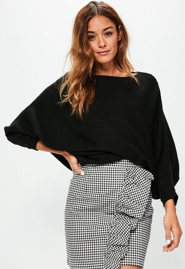 Black Slouchy Batwing Ribbed Cropped Jumper