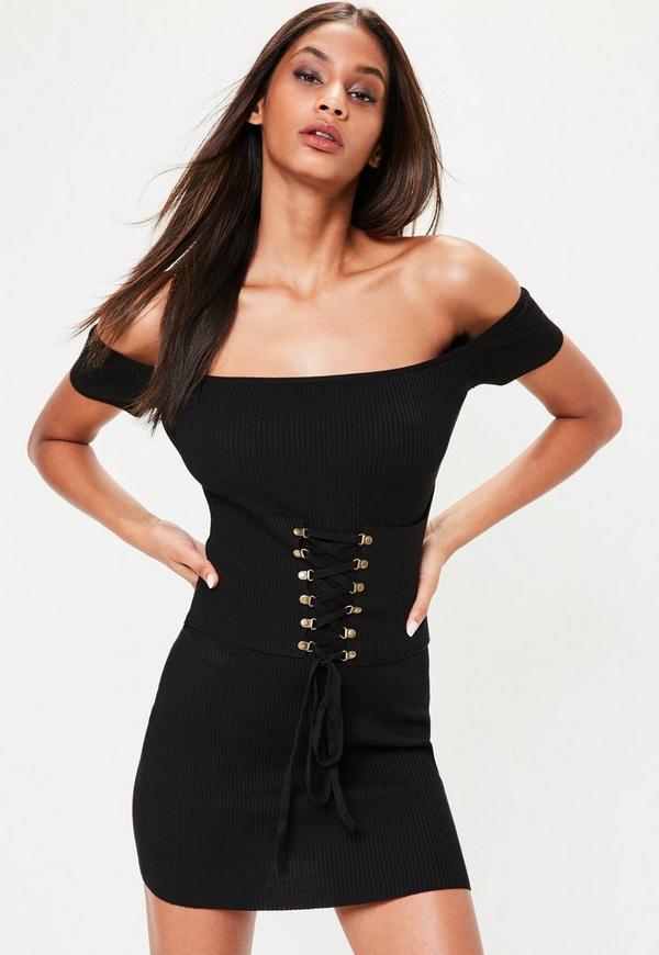 Black Corest Detail Bardot Rib Knitted Jumper Dress