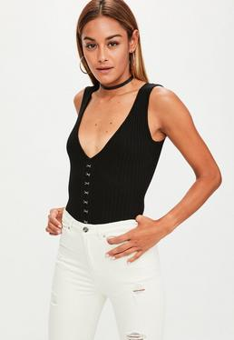 Black Hood and Eye Sleeveless Bodysuit