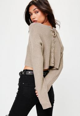 Grey Lace Back Knitted Jumper