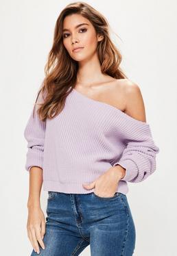 Purple Off Shoulder Cropped Jumper