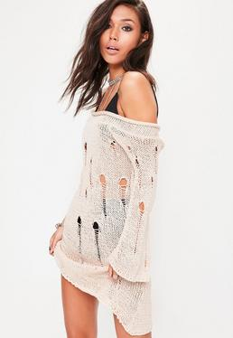 Cream Distressed Off The Shoulder Jumper Dress