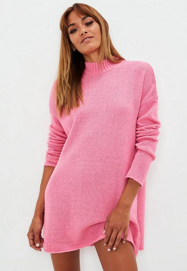 Hot Pink High Neck Slouchy Sweater Dress Missguided