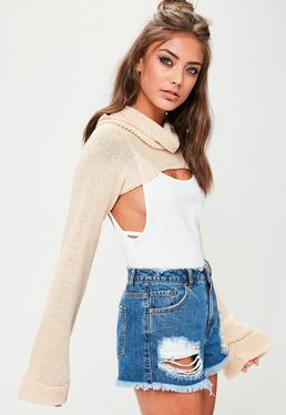 Nude Cropped Roll Neck Jumper