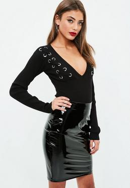 Black Knitted Plunge Bodysuit