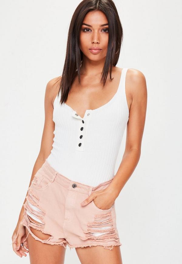 White Popper Basic Knitted Bodysuit